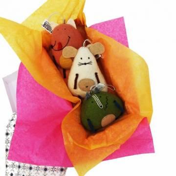"""Cute animals"": Set of 3 felted animals"