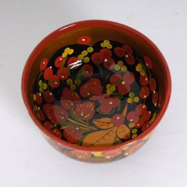 Petit bol en bois peint Khokhloma
