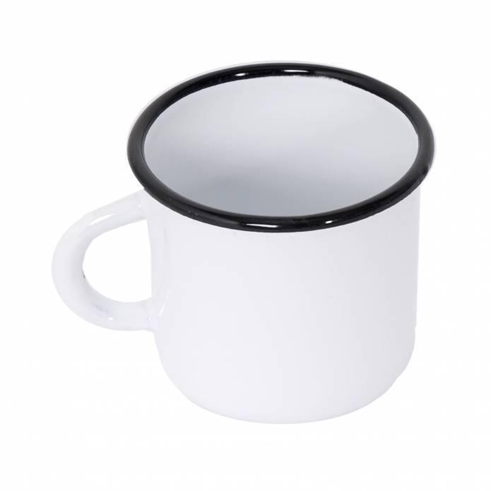 4 mugs en métal émaillé - 400 ml - Blancs et Jaunes