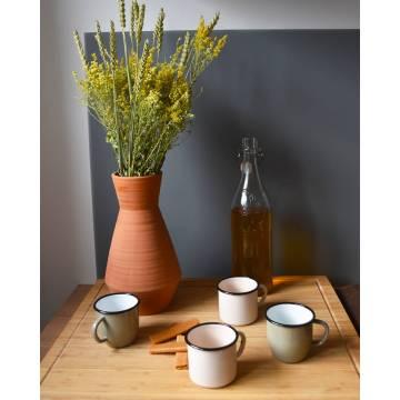 Conical enamelled metal mug - Grey - 250 ml
