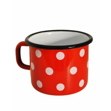 Enamelled-metal mug - Red with dots - 500 ml
