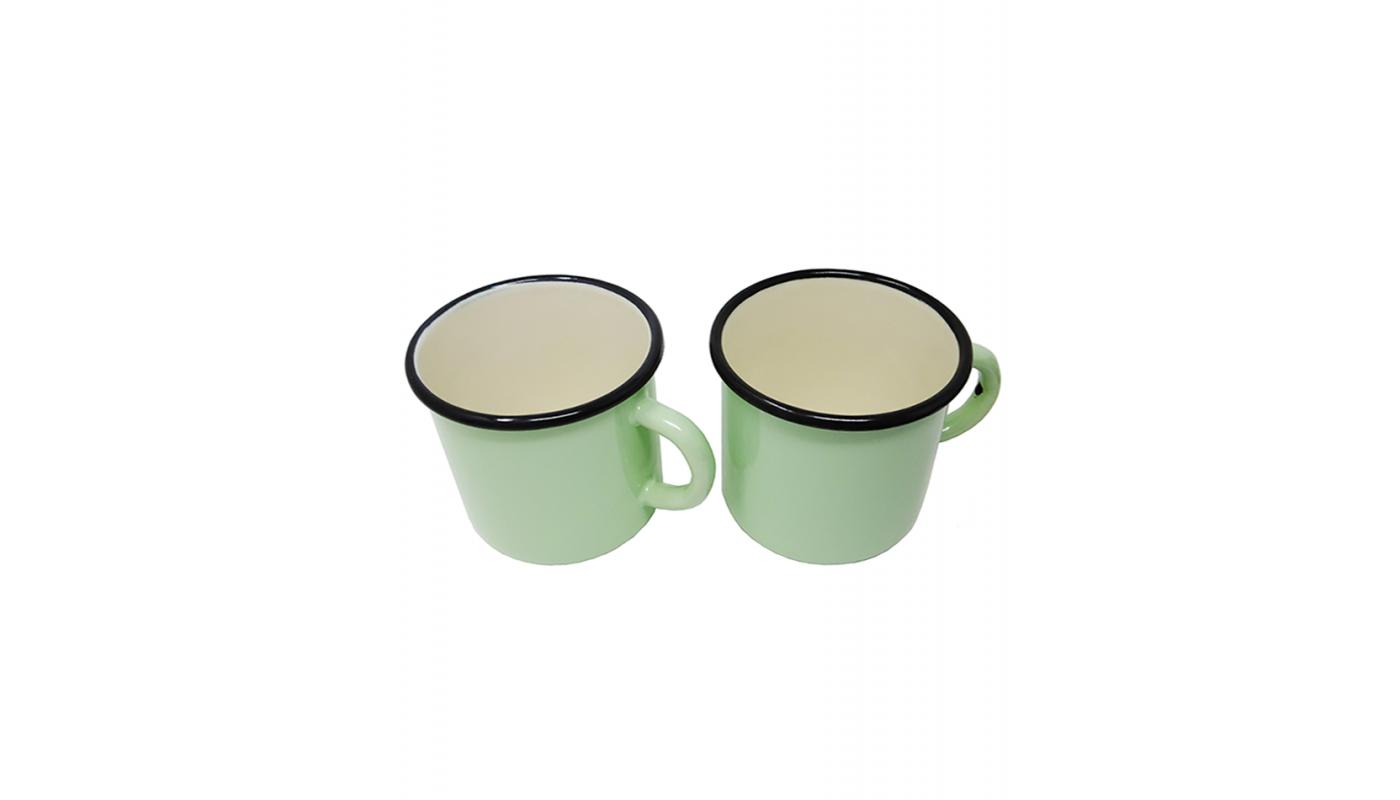 2 large green metal mugs - 400 ml
