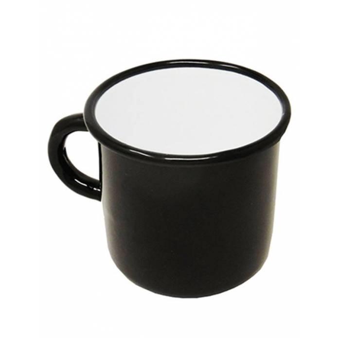 Enamelled metal mug - Black and white - 400 ml