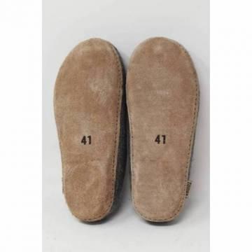 Chaussons en Feutre - Avec Semelle en cuir - Gris - T.41