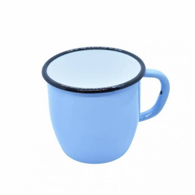 Enamelled-metal mug - Conical - Light blue - 250 ml