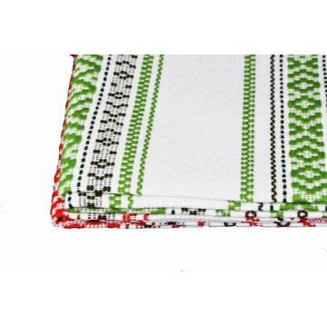 Chemin de table en coton brodé - Blanc et rouge