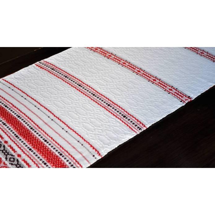 Grand chemin de table en coton tissé rouge et blanc