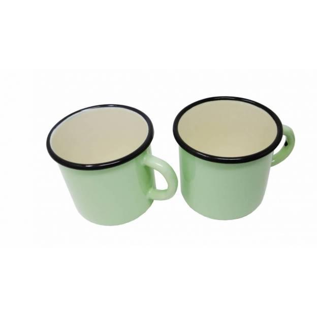 Green enamelled metal mug - 400 ml