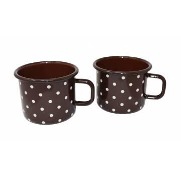 Enamelled metal mug - 500 ml - Chocolat with dots